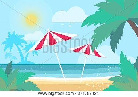 Parasols Under The Palm Tree On Seashore. Time To Travel. Tropical Summer Holidays. Seaside Landscap