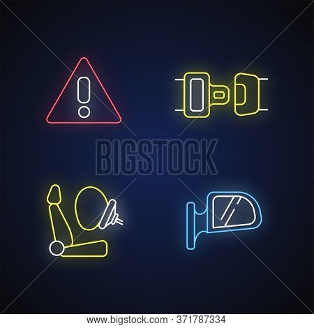 Drivers Safety Precautions Neon Light Icons Set. Safe Driving Signs With Outer Glowing Effect. Warni