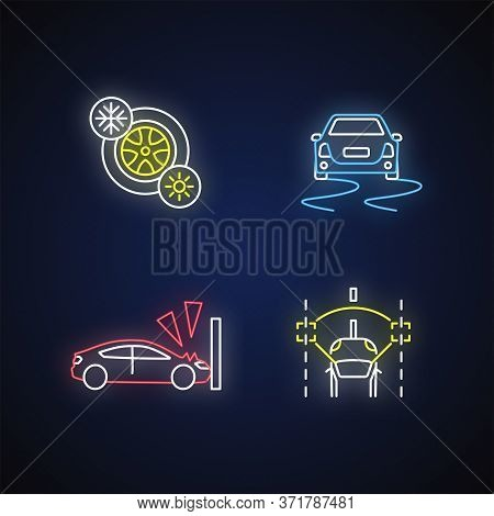 Car Security Measures Neon Light Icons Set. Signs With Outer Glowing Effect. Seasonal Tyres, Crash T