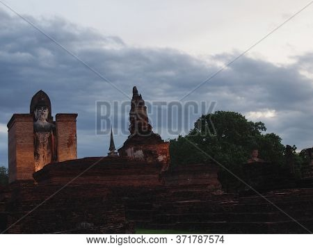 Sukhothai Thailand-03 August 2019:wat Mahathat Temple, Sukhothai Province Is A Temple In The Area Of