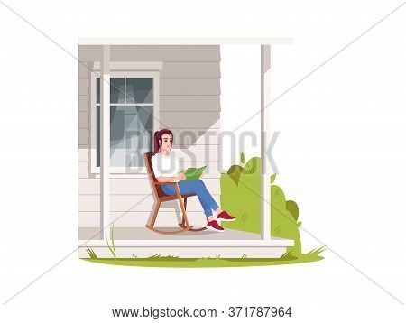 Woman Sit In Armchair On Patio Semi Flat Rgb Color Vector Illustration. Rural Lifestyle, Summer Recr