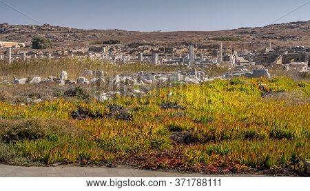Ruins On The Island Of Delos, Greece, An Archaeological Site Near Mykonos In The Aegean Sea Cyclades
