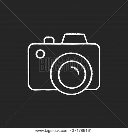 Camera Chalk White Icon On Black Background. Freelance Photographer. Take Picture. Photography Devic