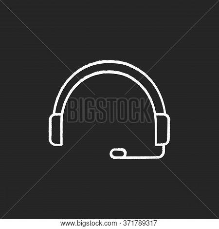 Headset Chalk White Icon On Black Background. Headphones For Operator. Online Customer Support Servi