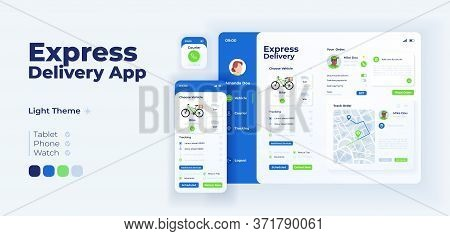 Express Delivery App Screen Vector Adaptive Design Template. Goods Ordering Service Application Ligh