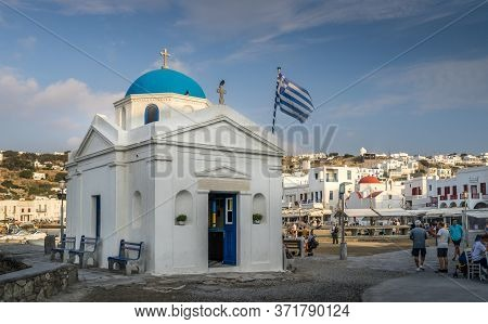 Mykonos, Greece - Oct 16, 2019. Agios Nikolakis Church In New Port In Hora, Also Known As Mykonos To