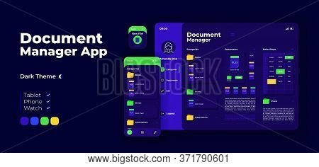Document Manager App Screen Vector Adaptive Design Template. Online File Directory Application Night