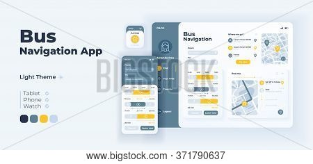 Bus Navigation App Screen Vector Adaptive Design Template. Passenger Transport Schedules And Routes