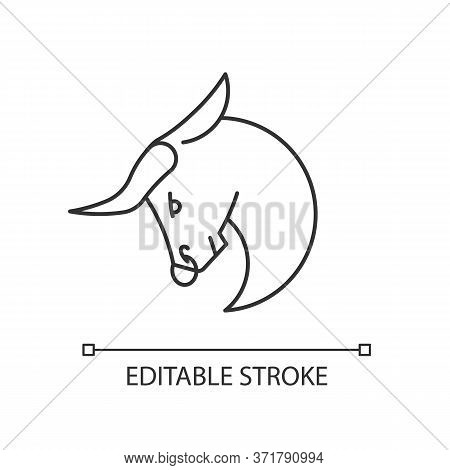 Taurus Zodiac Sign Pixel Perfect Linear Icon. Astrological Bull Thin Line Customizable Illustration.