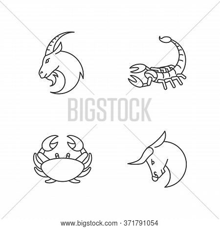 Astrological Signs Pixel Perfect Linear Icons Set. Goat, Crab, Scorpion And Bull Zodiac Customizable