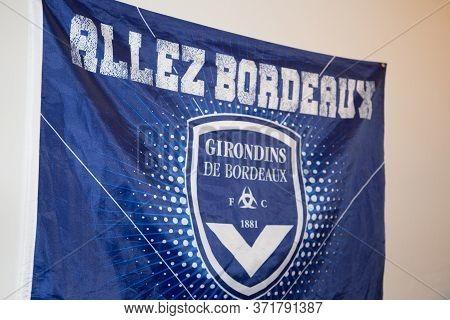 Bordeaux , Aquitaine / France - 10 23 2019 : Flag Soccer Fc Girondins De Bordeaux Logo Sign France F
