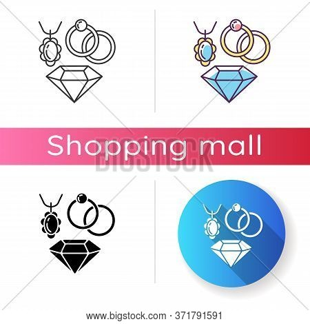 Jewelry Icon. Female Luxury Accessories. Shopping Mall Category. Elegant Necklace And Ring With Prec