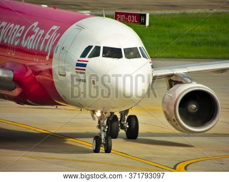 Don Mueang Airpor Bangkok Thailand-14 August 2019:airplane Of Airasia,air Asia Airlines Is A Low Cos