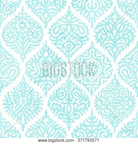 Damask Seamless Pattern. Hand-drawn Ornament In Ogee Style. Elegant Print For Textiles.