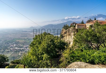 The Meteora Monasteries Of The Holy Trinity On Cliff In Kalambaka, Greece A Unesco World Of Heritage