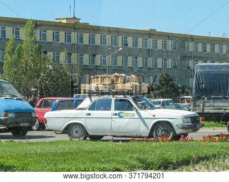 Azerbaijan, Baku - May 01, 2007: Classic Soviet Vintage Sedan Car Volga Gaz With Trunk That Is Overl