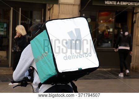 Bordeaux, Aquitaine / France - March 22 2019 :  Get Delivery Deliveroo Takeaway In Bordeaux Delivero