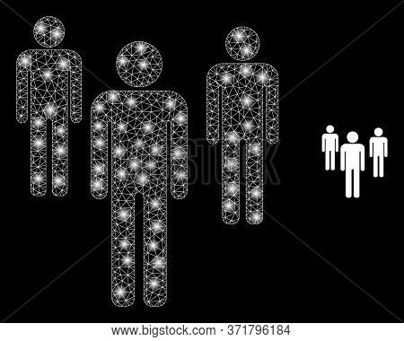 Bright Web Mesh Men Figures With Light Spots. Illuminated Vector 2d Constellation Created From Men F