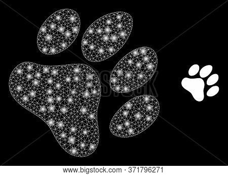 Shiny Web Mesh Paw Footprint With Light Spots. Illuminated Vector 2d Constellation Created From Paw