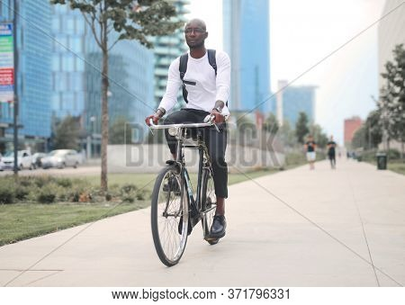 man cycling in the city
