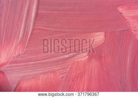 Pink Background With Oil Paint. Abstract Textured Background In Soft Pink. Neutral Spring Background