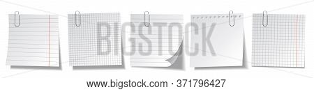 Realistic Blank Sticky Notes Isolated On White Background. White Sheets Of Note Papers. Paper Remind