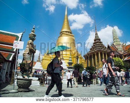 Wat Phra Kaew, Temple Of The Emerald Buddha,bangkok Thailand-30 October 2018;landmark Of Thailand In