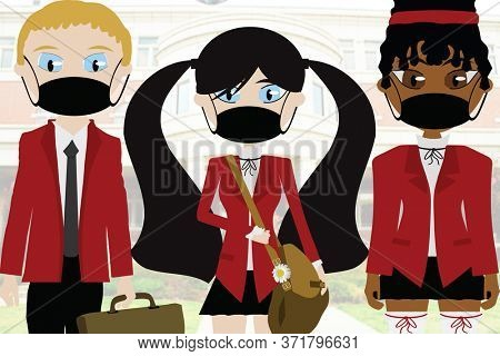 Illustration Three School Students in Uniforms and Face Mask