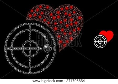 Glare Web Mesh Love Heart Radar With Glowing Spots. Illuminated Vector 2d Model Created From Love He