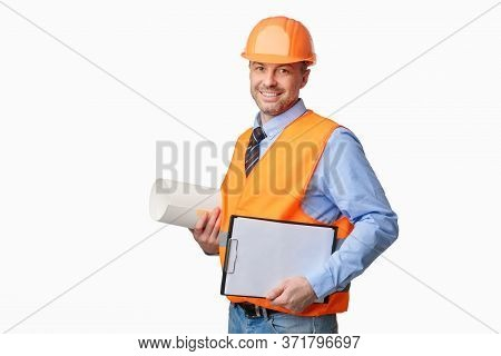 Building Plan. Architect Holding Project Papers And Folder Smiling To Camera Standing On White Studi