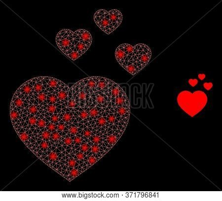 Shiny Web Mesh Favorite Hearts With Light Spots. Illuminated Vector 2d Constellation Created From Fa