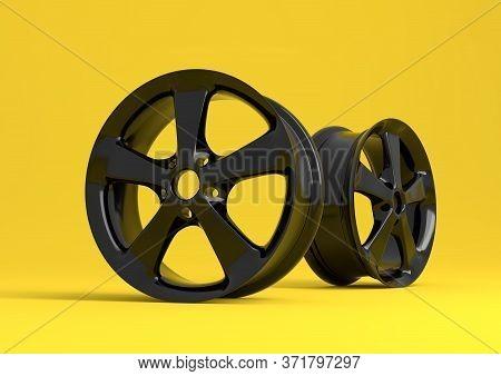 Aluminium Alloy Car Wheel. Black Alloy Rim For Car, Tracks On Yellow Background. 3d Rendering Illust