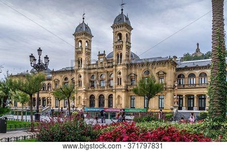San Sebastian, Spain - Sept 10, 2017. City Hall Of San Sebastian. Also Called Donostia In Basque Cou