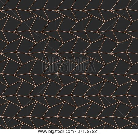 Seamless Abstract Vector Web Art Texture. Repetitive East Graphic, Hex Design Pattern. Dark Modern R
