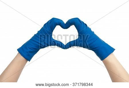 Heart Made Of Blue Medical Gloves. Isolated On White Background. Thanks To Health Workers Concept, M