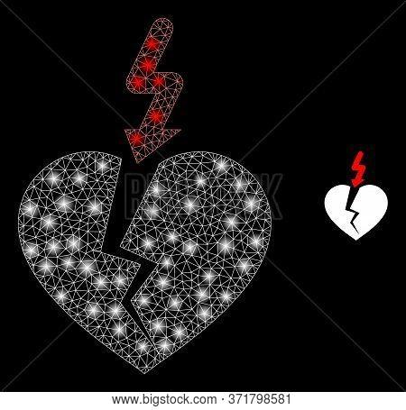 Shiny Web Network Break Heart With Light Spots. Illuminated Vector 2d Model Created From Break Heart
