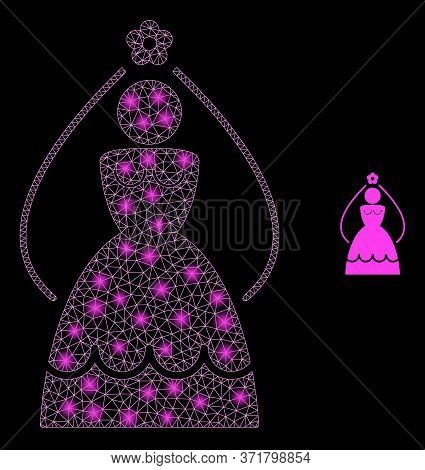 Glare Web Mesh Bride With Lightspots. Illuminated Vector 2d Constellation Created From Bride Icon. S