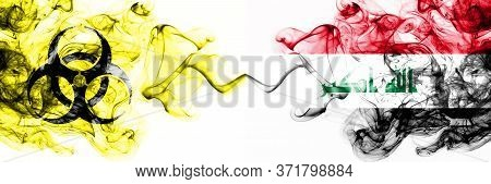 Iraq, Iraqi Quarantine. Coronavirus Covid-19 Lockdown. Smoky Mystic Flag Of Iraq, Iraqi With Biohaza