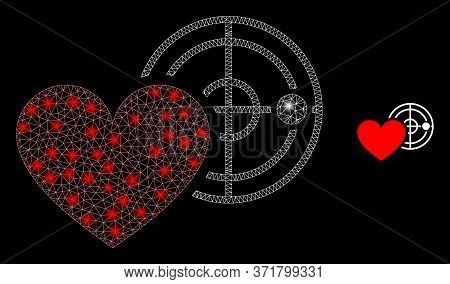 Glare Web Mesh Love Heart Radar With Lightspots. Illuminated Vector 2d Constellation Created From Lo