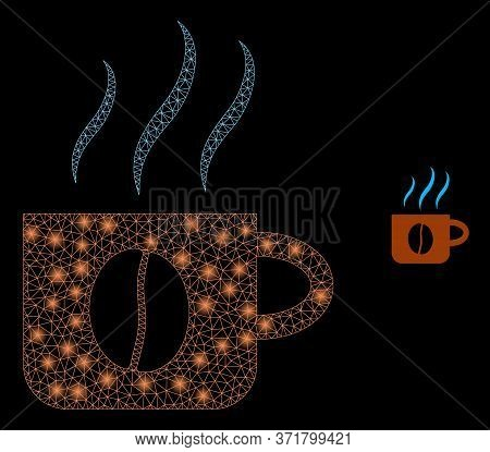 Glowing Web Mesh Hot Coffee Cup With Glowing Spots. Illuminated Vector 2d Constellation Created From