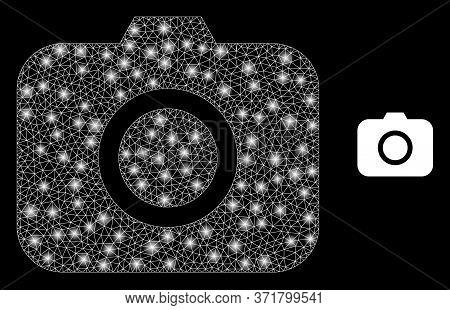 Shiny Web Mesh Photocamera With Glowing Spots. Illuminated Vector 2d Model Created From Photocamera