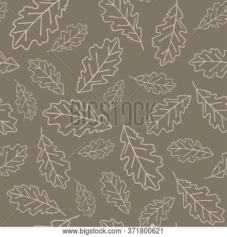 Floral Oak Seamless Pattern In Vector. Seamless Pattern With Oak Leaves On Light Beige Backround. Fl