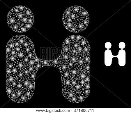 Glowing Web Network Siam Twins People With Glowing Spots. Illuminated Vector 2d Constellation Create