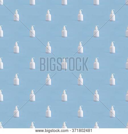 Trendy Seamless Pattern With White Plastic Mockup Dispenser On Blue Background. Many Bottles Of Hand