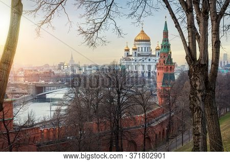 View Of The Cathedral Of Christ The Savior, The Moscow River, A Bridge And Towers From The Territory