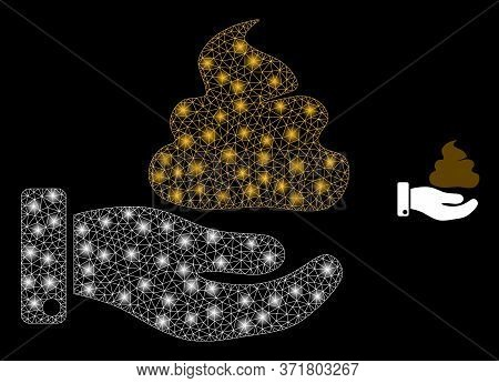 Glowing Web Network Hand Give Shit With Glowing Spots. Illuminated Vector 2d Constellation Created F