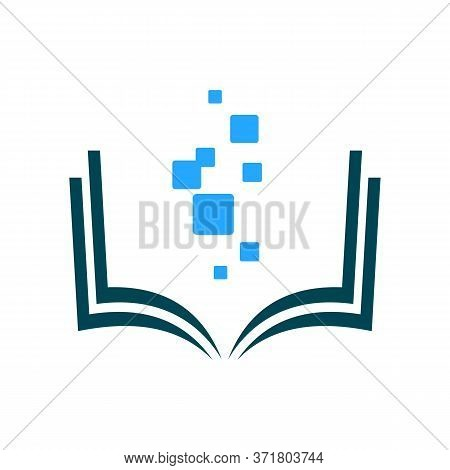 Digital School. On-line Educational Blue Vector Logo. Open Book With Pages And Pixels. Virtual I.q.