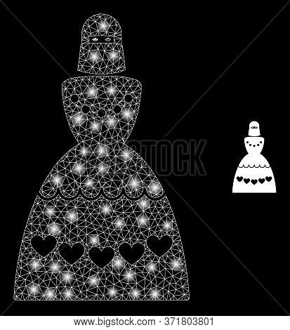 Bright Web Network Muslim Bride With Light Spots. Illuminated Vector 2d Constellation Created From M