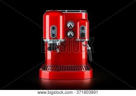 Red Coffeemaker Or Coffee Machine Retro Design On Black Background, 3d Rendering