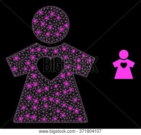 Bright Web Mesh Girlfriend With Lightspots. Illuminated Vector 2d Model Created From Girlfriend Icon